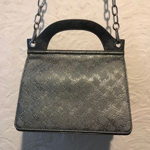 French Connection Silver Logo Flap Bag